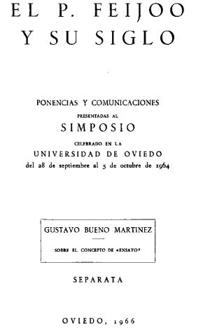 Gustavo Bueno Sobre El Concepto De Ensayo 1966